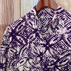 Batik Print Casual Shirt XL